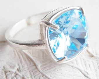Baby Blue Swarovski Cushion Cut Silver Adjustable Ring