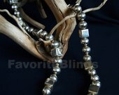 Long Taxco Sterling Silver Necklace OOAK Balls and Cubes Rare Signed Heavy Statement FavoriteBlings Retro
