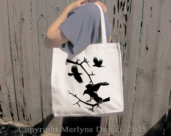 Crow Canvas Bag Ravens design 100% Cotton large grocery bag halloween pagan wiccan