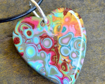 Heart Pendant, Abstract Healing Heart  Pendant on  Leather Cord, Healing Heart, Heart Jewelry