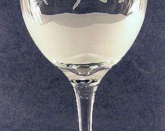 two dragonfly hand etched on a American Made 20 oz. wine goblet