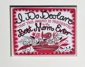 "Mother's Day or Birthday Letterpress ""Certificate"" Card"