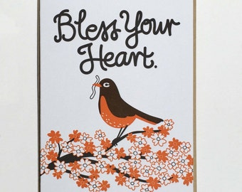 "Condolence/Get Well/General ""Bless Your Heart"" Letterpress Card"
