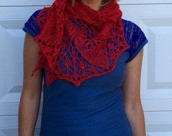 red leaves shawl, cotton, linen
