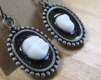 Black Night Earrings ooak