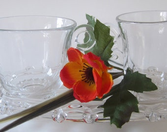 Heisey Crystal Glass Sugar Creamer Underplate Lariat Pattern Blown Signed