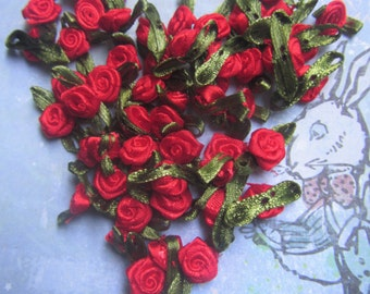 25 Small Red Fancy Detailed Satin Ribbon Rose Appliques Tiny Rosettes