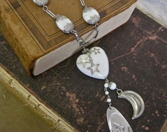 Serenity:  Long Necklace Heart Moon and Stars Signed Coventry Serenity Prayer Vintage Assemblage White Glass Heart and Beads with Silver