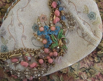 Alice Blue Blossoms:  Floral Statement Necklace Bridal Vintage Assemblage Romantic Pink and Blue Crystals BOHO WEDDING One of a Kind ooak