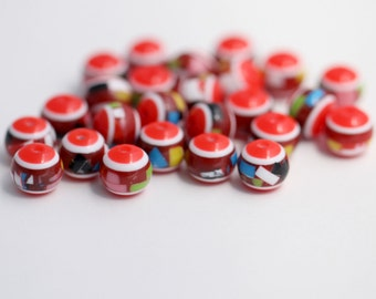 Red Confetti Round Resin Acrylic Beads 11mm (25)