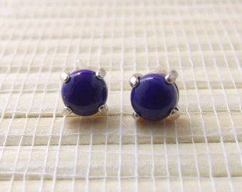 Lapis Denim Stud Sterling Silver Cabochon Earrings 5mm