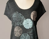 ON SALE loose fit women's top, urchin and coral, summer tee, beach inspired