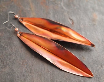 Hand Forged Copper Long Willow Leaf Earrings