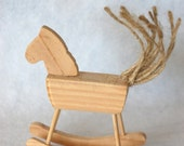 Doll size rocking horse, timber and juta thread
