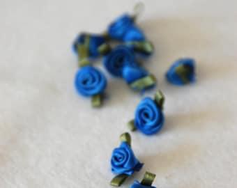 Satin ribbon rosebuds SMALL in royal blue - packs of 10pc