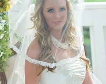 Ruffled-edge Drop Veil, Wedding Veil, Bridal Veil