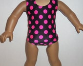 18 inch Doll Swimsuit, Black, Pink Polka Dots, One Piece, 1 pc Bathing Suit, Dancewear, Gymnastics, American Made, Girl Doll Clothes