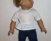 18 inch Doll, Ruffled Tshirt, Short Sleeve Blouse, White Tee Shirt,  American Made, Girl Doll Clothes