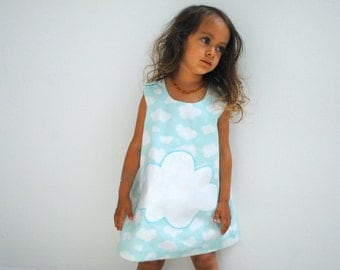 Girls Dress- ORGANIC Girls Dress in Clouds-  Blue Skies Pinafore- Kids Summer Fashion (Ready to Ship 2T)