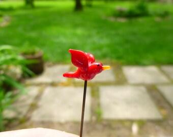 Fairy garden, micro miniature, fairy garden accessory, tiny red bird, glass cardinal, terrarium accessory, fairy garden supply, MTO