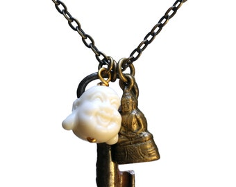 Double Buddha-key necklace