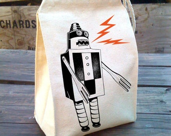 Sale Rad Robot Reusable snack Misprint Eco Lunch Sack retro design nerdy sparks kitch, washable Recycled Cotton Canvas Lunch Bag with Handle