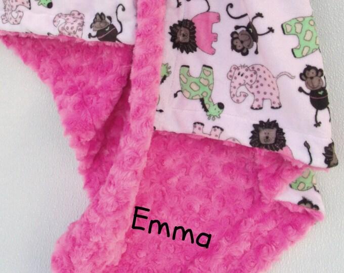 Jungle Print Minky Baby Blanket, Elephant Baby Blanket, Baby Girl Minky BlanketCan Be Personalized