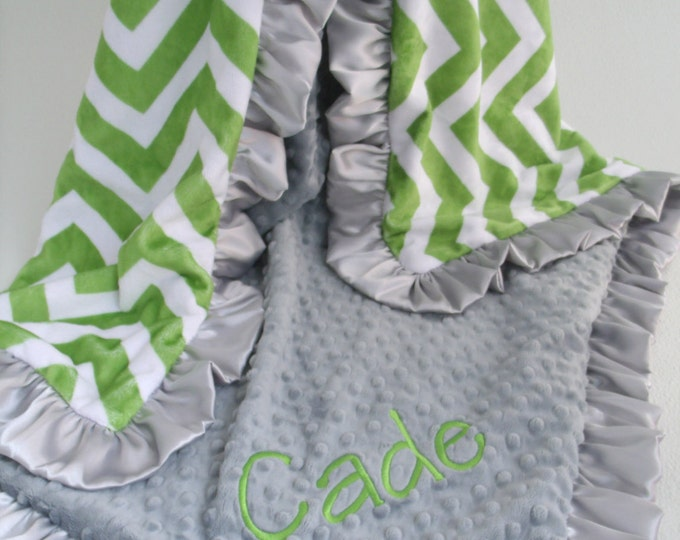 Green Chevron and Gray Minky Dot blanket Can Be Personalized