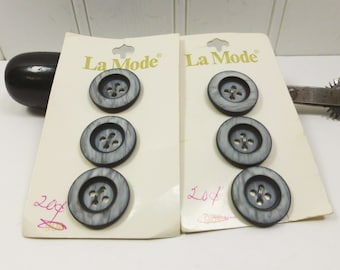 Variegated Gray Buttons, Vintage La Mode 3/4 inch 19 mm Light Gray Buttons, Two Tone Gray Buttons Original Button Card