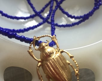 Brass Scarab Necklace - bug necklace - beetle necklace - blue necklace - beetle charm necklace - scarab charm necklace - brass beetle