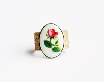 Rose Ring Vintage Flower Cameo Floral Limoge Brass Band Victorian Red Rose Cameo Romantic Jewelry Valentine's Day Gift For Her
