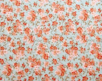 Flowers Floral Fabric - Coral Pink Orange Teal Blue Metallic Gold Quilter's Weight Cotton Print Fabric - One Yard - Yardage - By the Yard