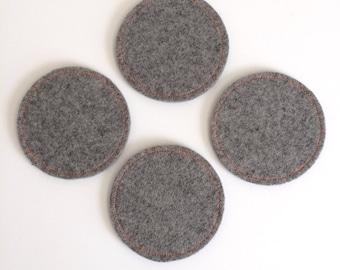 Wool Felt Coaster Set: Heather Grey Ground - Neon Orange Stitching