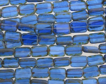 12x8mm Transparent Sapphire Picasso Edged Table Cut Czech Glass Rectangle Beads - Qty 20 (BS161)