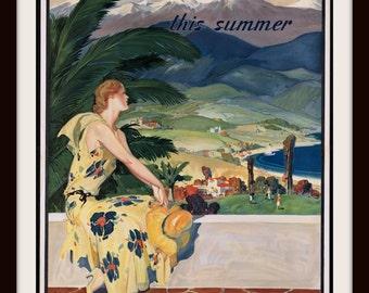 "CALIFORNIA ""This Summer"" Travel Advertisement Poster circa 1920 Giclee Re-Print - Wall Art"