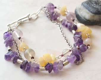 "Amethyst, Yellow Jade Three Strand Bracelet -Goddess Ceridwen - Handmade OOAK - 7.5"" - Multistrand, Free US Shipping, Metaphysical Jewelry"