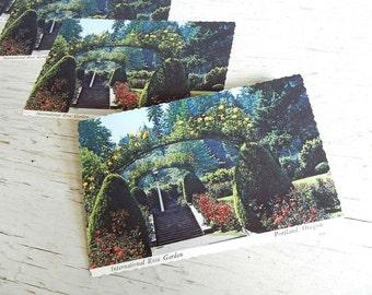 Portland Oregon Postcard | International Rose Garden | 1970s Pacific Northwest | Save the Date Cards | Vintage Wedding Invitations