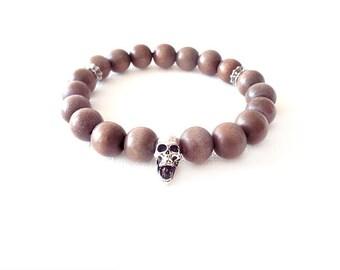 Wood Beaded Stretch Bracelet - Coconut Palm Tree Wood - Mocha, Silver - The Basics: Skull 10mm Round