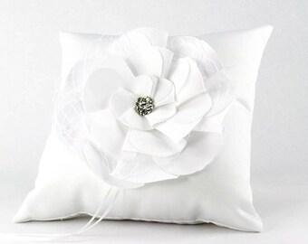 Netted Rose Wedding Ring Bearer Pillow - 75104W