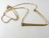 Brass and gold filled chevron necklace, Hammered brass V on thin chain