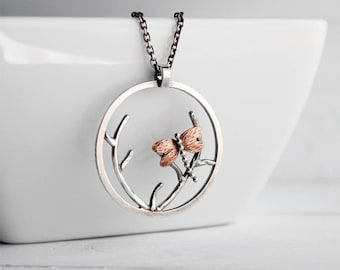 Dragonfly Pendant, Asian Landscape Inspired Circle Pendant, Sterling silver, Bold, Statement Necklace, Handmade by Hapa Girls, One of a Kind