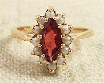 Size 5.25 Vintage 14K Gold Garnet and Seed Pearl Ring