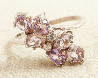 Size 7.75 Vintage Amethyst and Clear Glass Sterling Ring