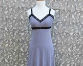 Organic Cotton Bamboo Lingerie Nightgown Full Slip Dress Extender Sexy Chemise Soft Nightie Sleepwear Eco Gray w/ your choice of lace color