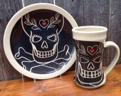 Black Sugar Skull Love Breakfast Set