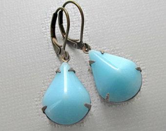 Aqua Blue Earrings - Soft Turquoise Earrings - Summer Jewelry - Gift Idea - CAMBRIDGE Aqua