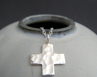 small silver square cross necklace. sterling silver. hammered cross pendant. faith christian jewelry red cross symbol simple charm gift 5/8""