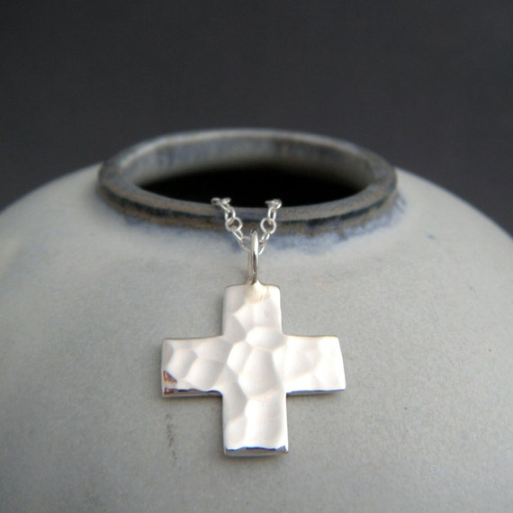 small silver square cross necklace sterling silver hammered