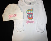 Custom Personalized Applique INITIAL and NAME Infant Gown and Hat Set - Farmers Market Stripey - Pink, Aqua, Lime Green, and Orange