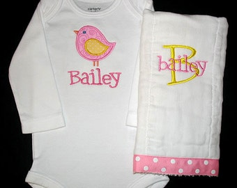 Custom Personalized Applique BIRD and NAME Bodysuit and Burp Cloth Set - Pink and Yellow
